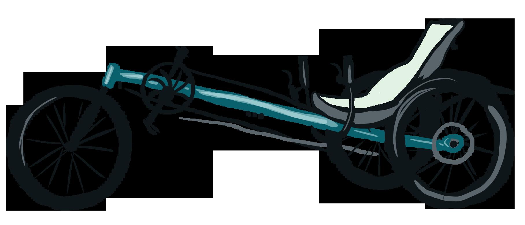 Fahrrad mit hinten zwei Rädern, vorne eins. Liegende Sitzhaltung.