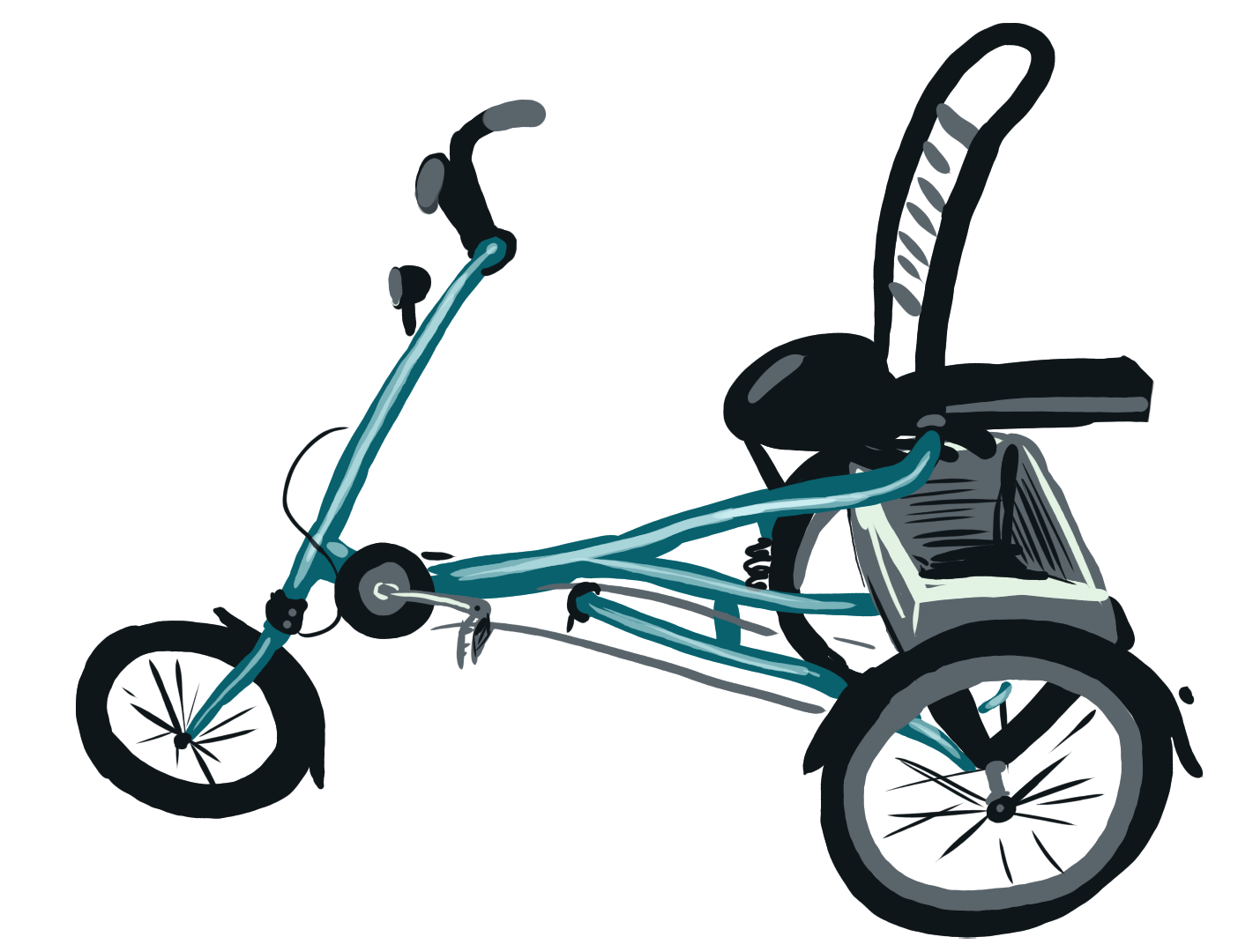 Fahrrad mit hinten zwei Rädern, vorne eins. Aufrechte Sitzhaltung.