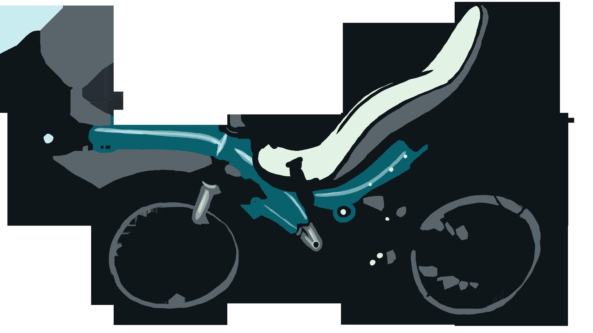 Fahrrad mit hinten zwei Rädern, liegende Sitzhaltung.